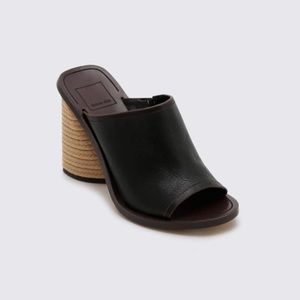 Dolce vita Alba Braided Black Mule Heel Sandal 7.5
